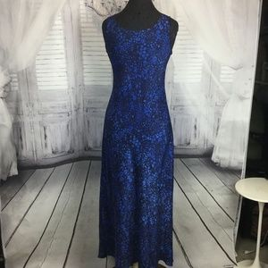 Adrienne Vittadini Blue Black Maxi Dress M